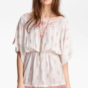 Free People Printed Embroidered Tunic Top S